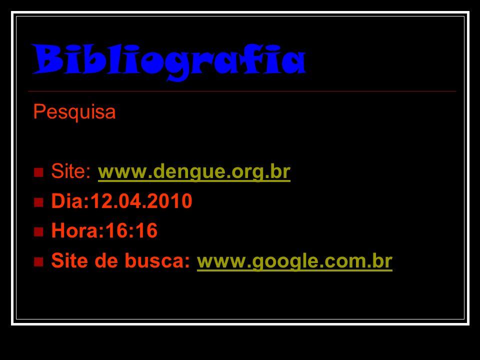 Bibliografia Pesquisa Site: www.dengue.org.br Dia:12.04.2010