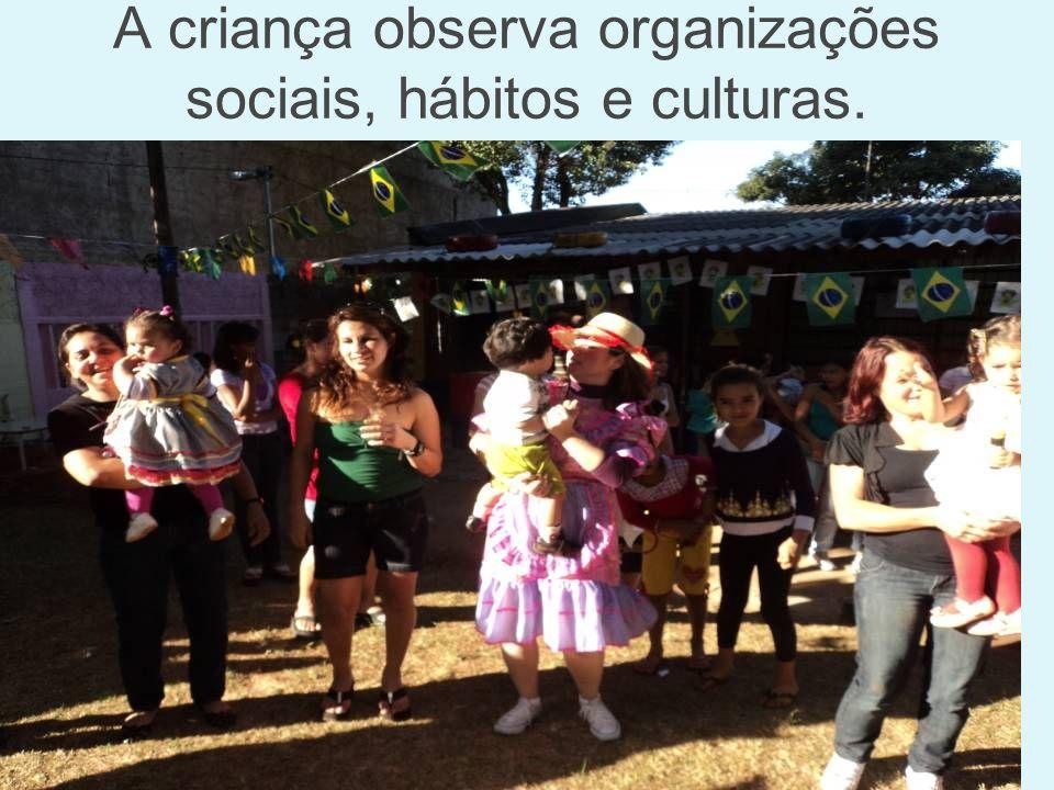 A criança observa organizações sociais, hábitos e culturas.