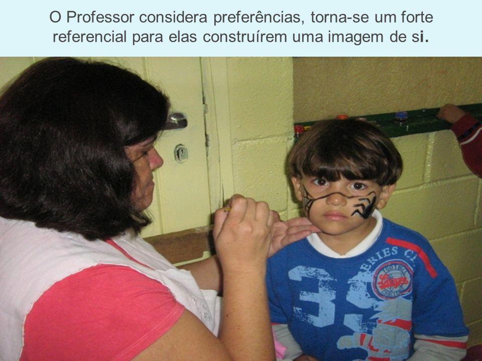 O Professor considera preferências, torna-se um forte referencial para elas construírem uma imagem de si.