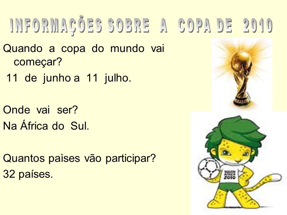 INFORMAÇÕES SOBRE A COPA DE 2010