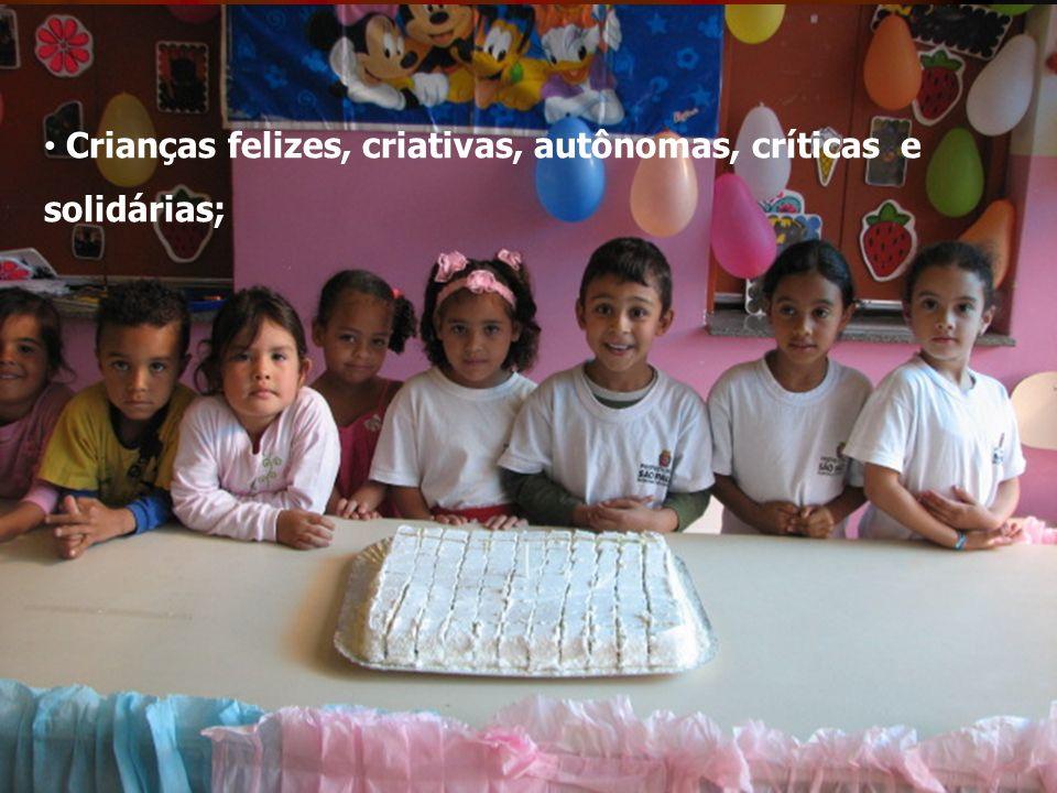 Crianças felizes, criativas, autônomas, críticas e solidárias;