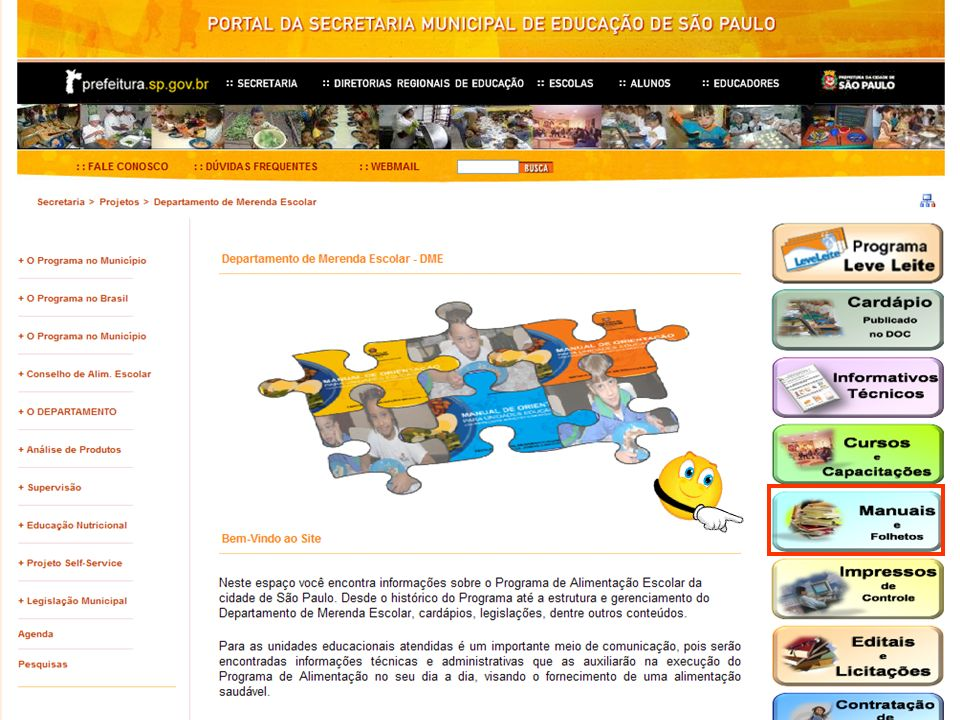 Site do Departamento de Merenda Escolar