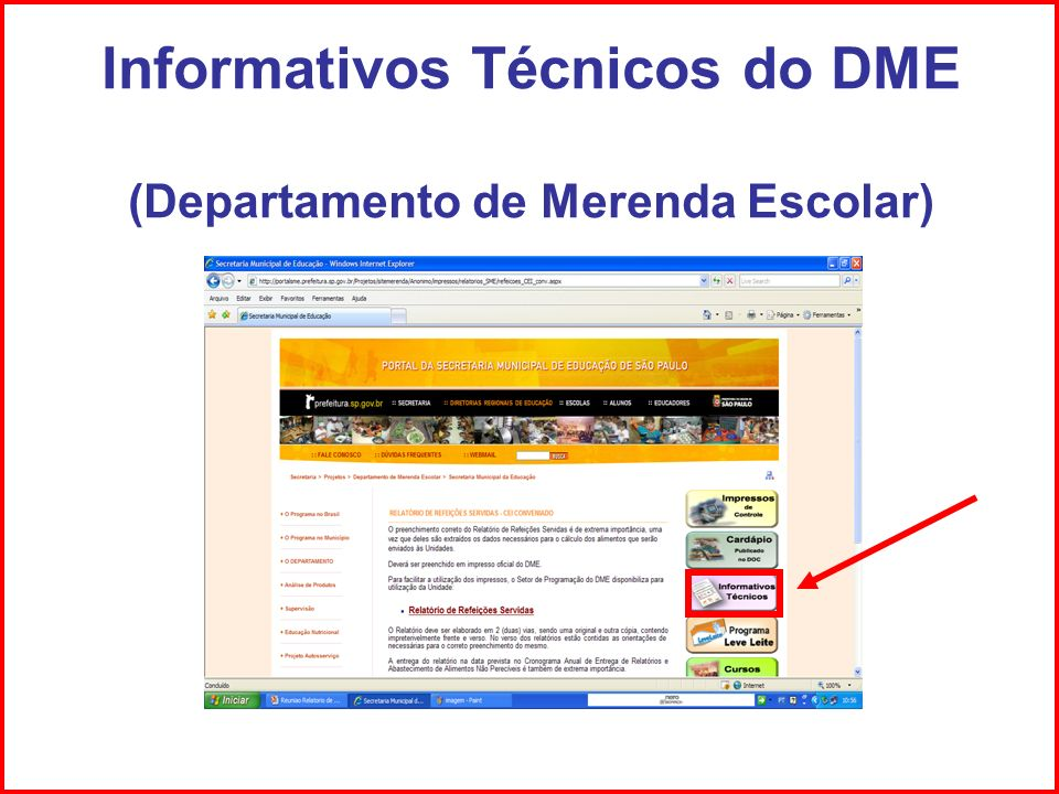 Informativos Técnicos do DME (Departamento de Merenda Escolar)