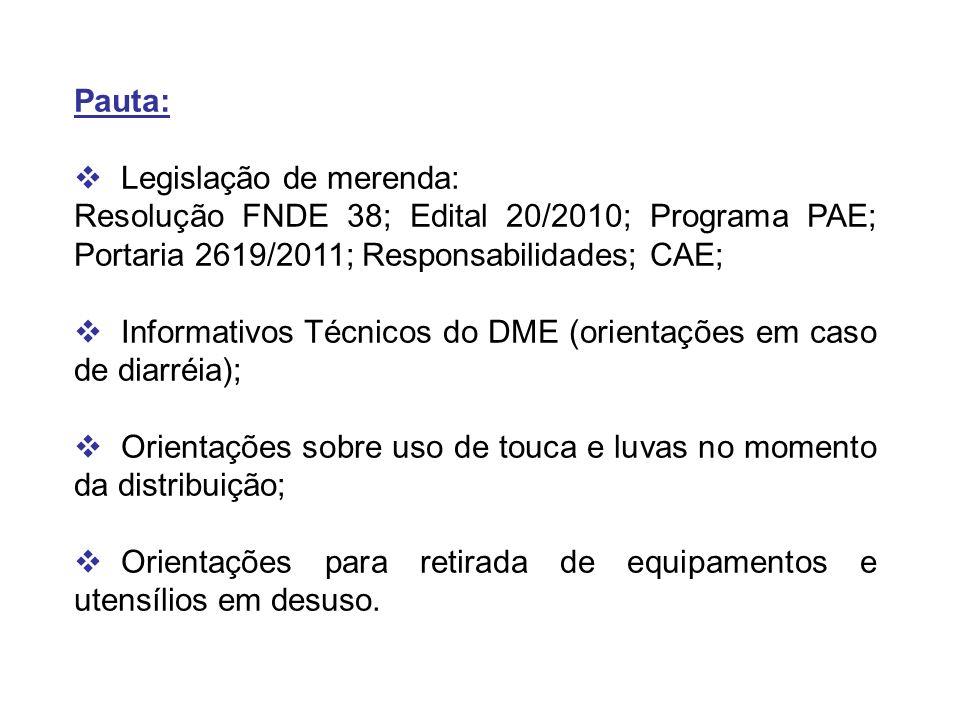 Pauta: Legislação de merenda: Resolução FNDE 38; Edital 20/2010; Programa PAE; Portaria 2619/2011; Responsabilidades; CAE;
