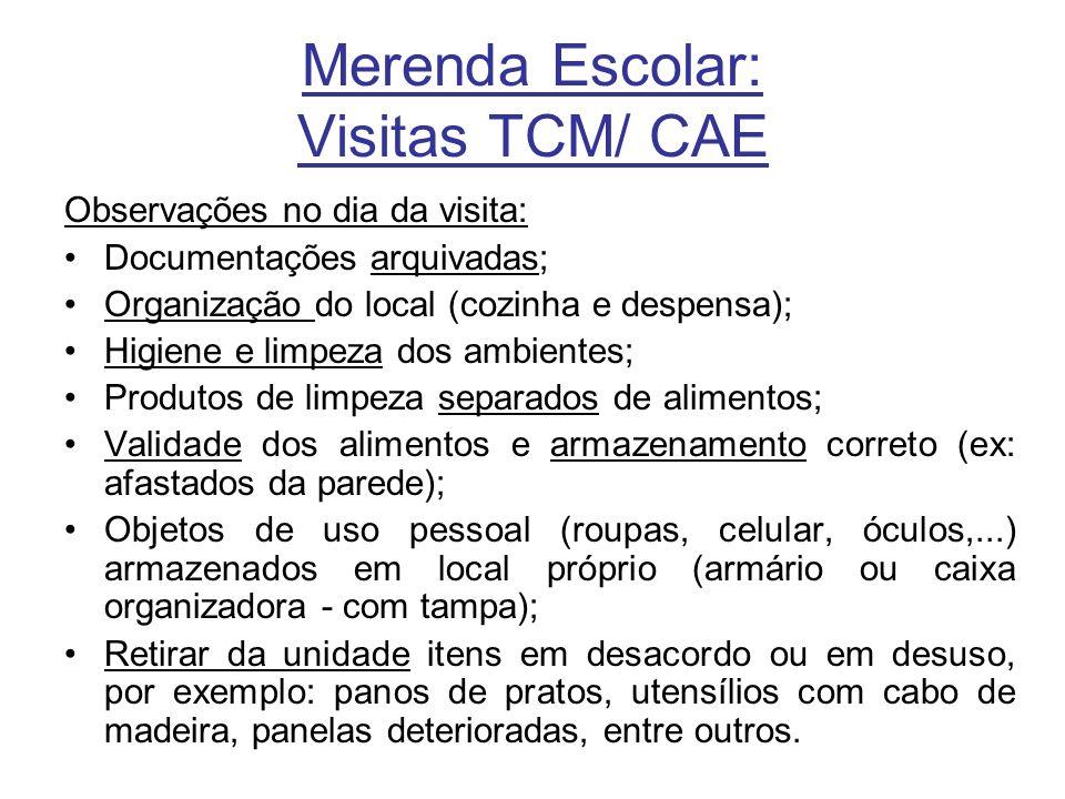 Merenda Escolar: Visitas TCM/ CAE
