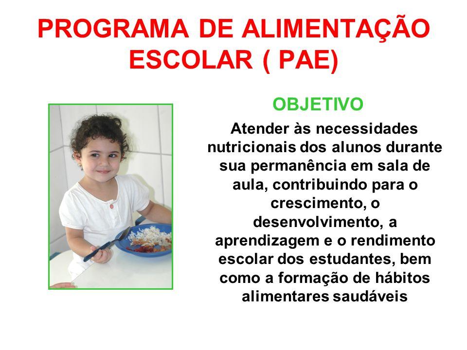 PROGRAMA DE ALIMENTAÇÃO ESCOLAR ( PAE)