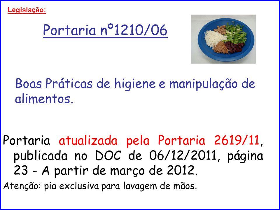 Legislação: Portaria nº1210/06 Boas Práticas de higiene e manipulação de alimentos.