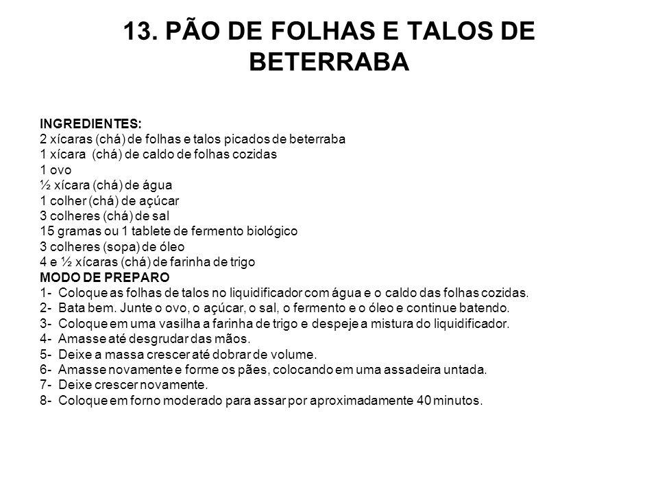 13. PÃO DE FOLHAS E TALOS DE BETERRABA
