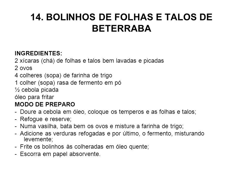 14. BOLINHOS DE FOLHAS E TALOS DE BETERRABA