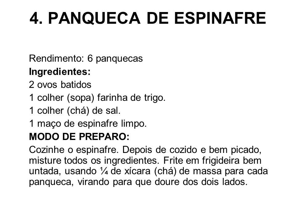 4. PANQUECA DE ESPINAFRE Rendimento: 6 panquecas Ingredientes: