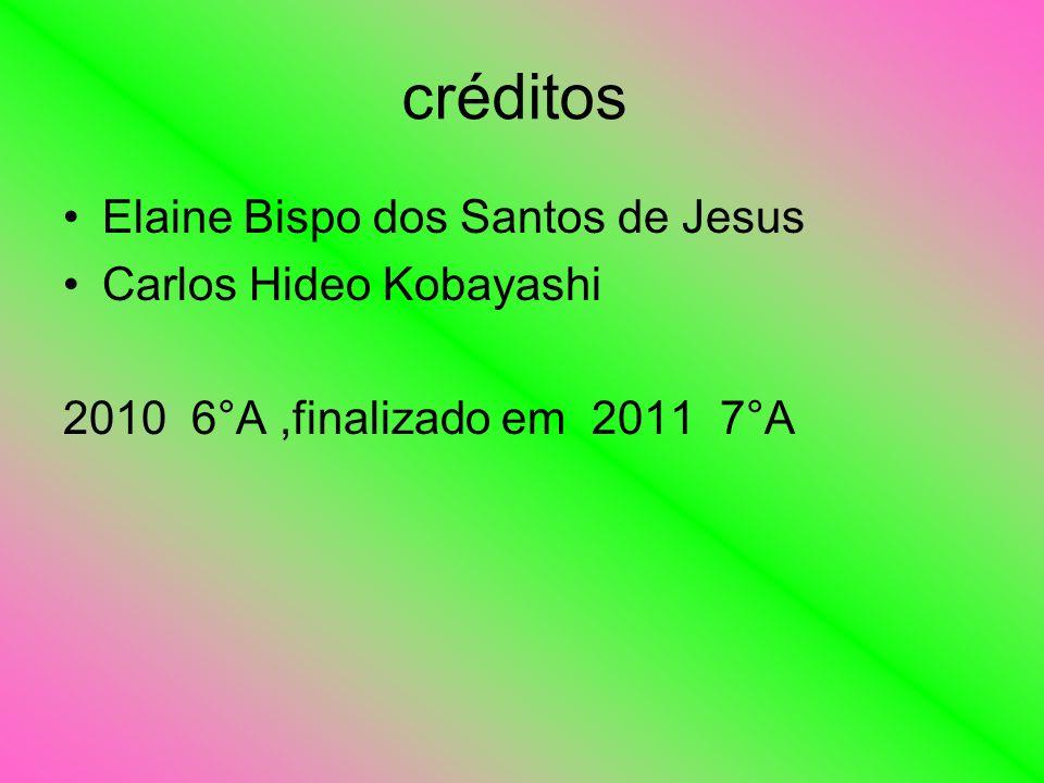 créditos Elaine Bispo dos Santos de Jesus Carlos Hideo Kobayashi