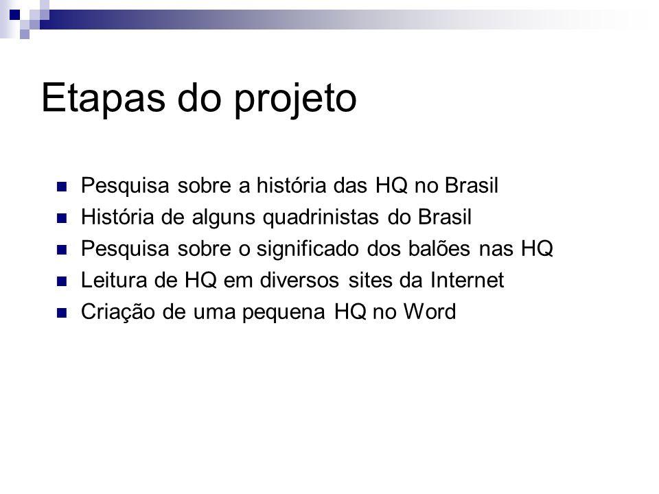 Etapas do projeto Pesquisa sobre a história das HQ no Brasil