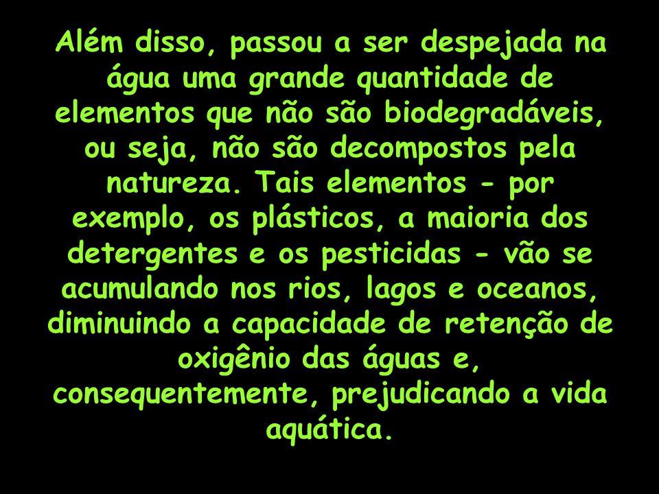 Além disso, passou a ser despejada na água uma grande quantidade de elementos que não são biodegradáveis, ou seja, não são decompostos pela natureza.