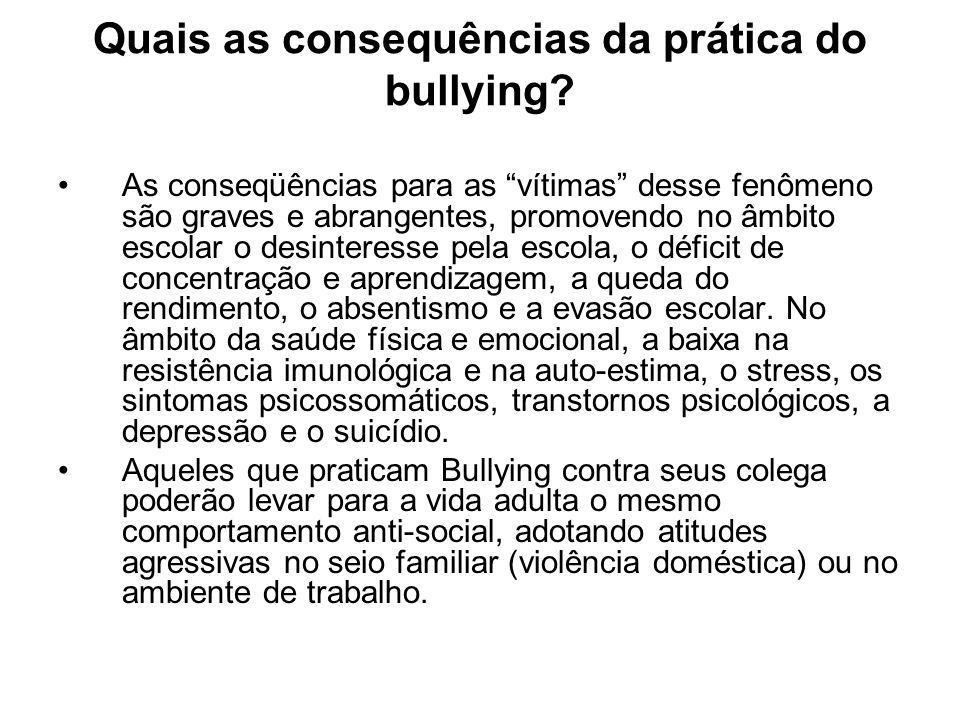 Quais as consequências da prática do bullying
