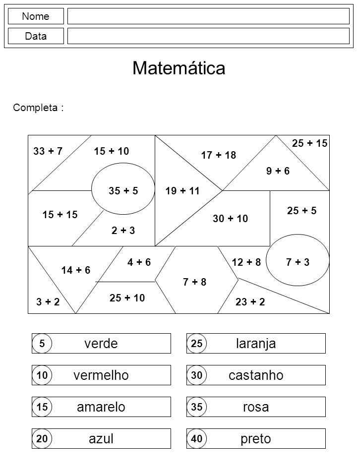 Matemática verde laranja vermelho castanho amarelo rosa azul preto