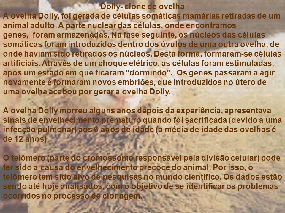Dolly- clone de ovelha.