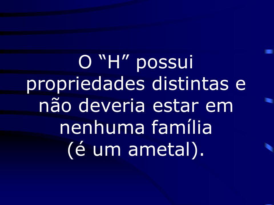 O H possui propriedades distintas e não deveria estar em nenhuma família (é um ametal).