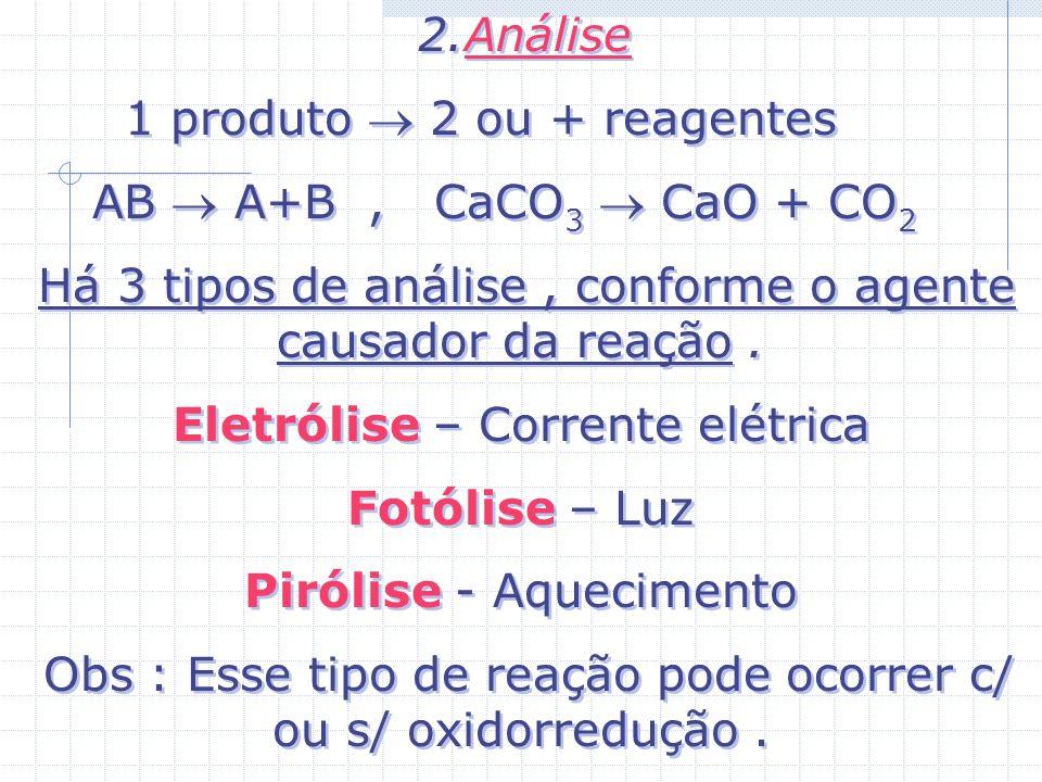 1 produto  2 ou + reagentes AB  A+B , CaCO3  CaO + CO2