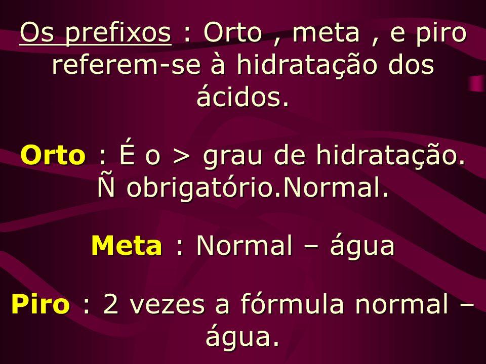 Os prefixos : Orto , meta , e piro referem-se à hidratação dos ácidos.