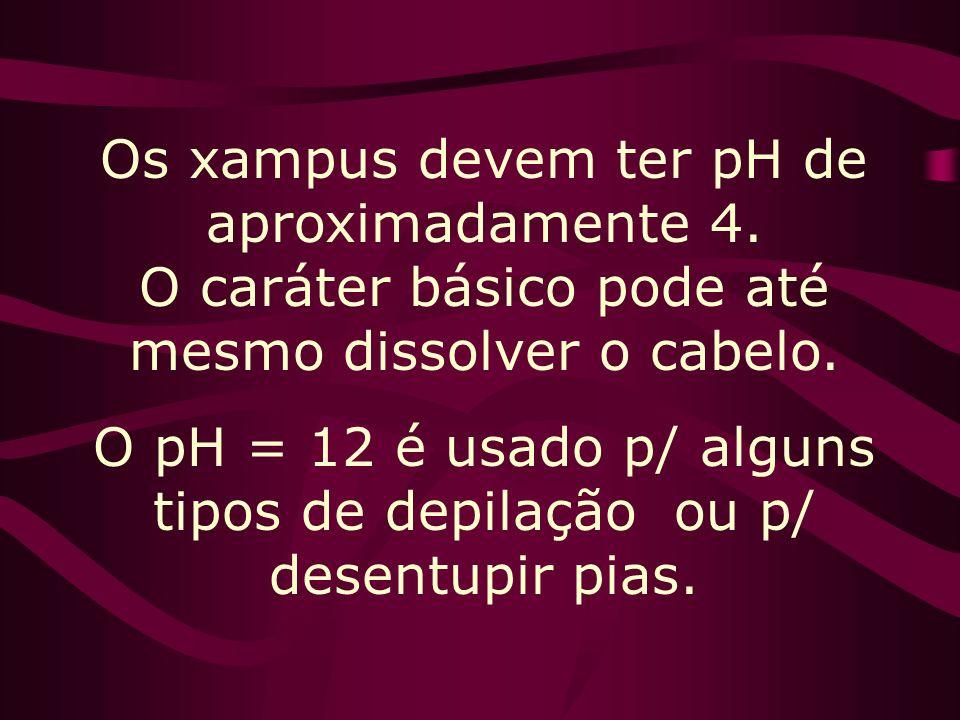 O pH = 12 é usado p/ alguns tipos de depilação ou p/ desentupir pias.