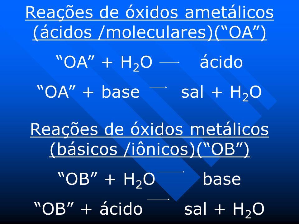 Reações de óxidos ametálicos (ácidos /moleculares)( OA )