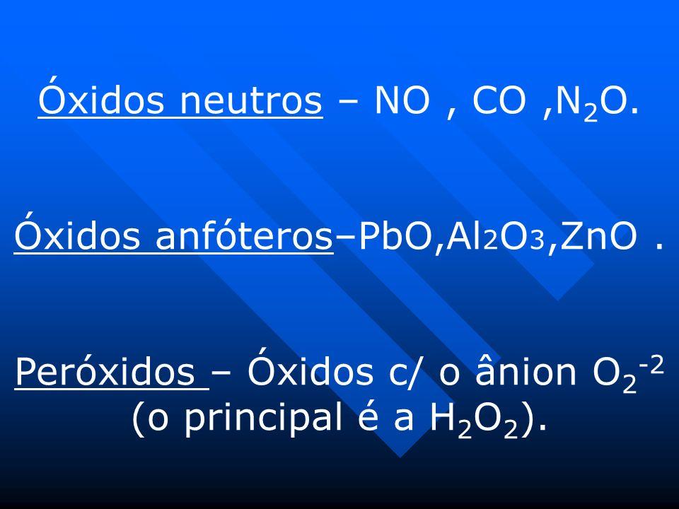 Óxidos neutros – NO , CO ,N2O.