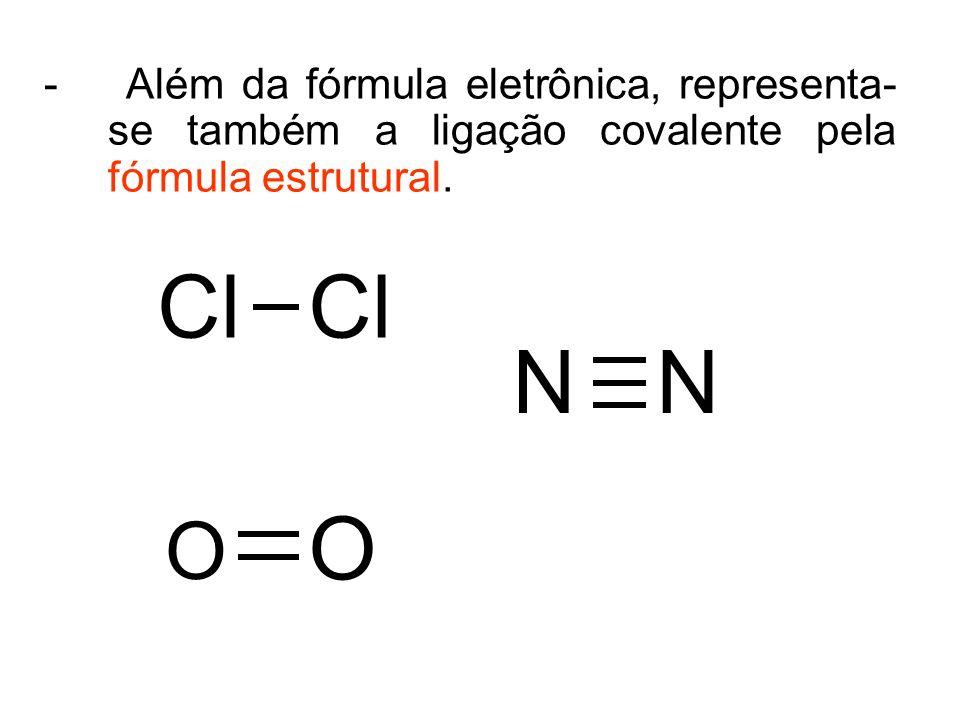 - Além da fórmula eletrônica, representa-se também a ligação covalente pela fórmula estrutural.
