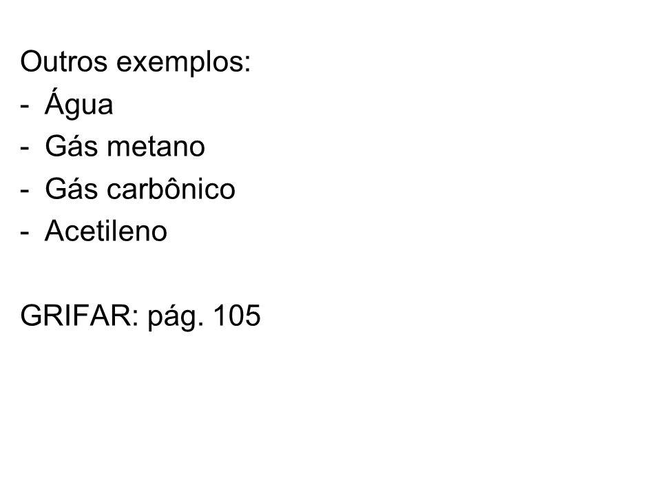 Outros exemplos: Água Gás metano Gás carbônico Acetileno GRIFAR: pág. 105