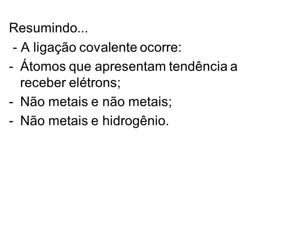 Resumindo... - A ligação covalente ocorre: Átomos que apresentam tendência a receber elétrons; Não metais e não metais;