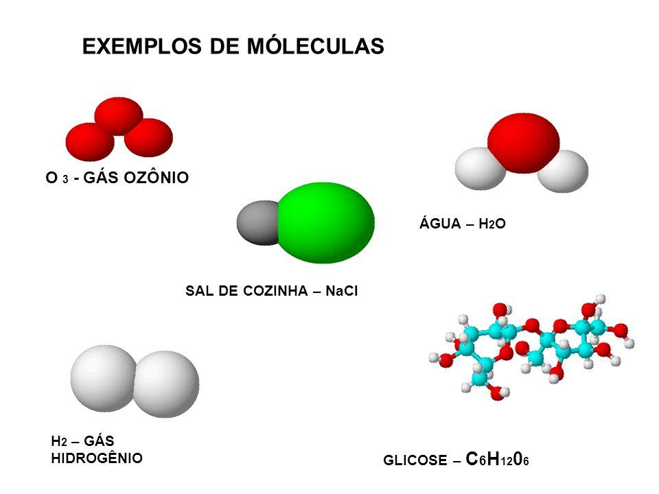 EXEMPLOS DE MÓLECULAS O 3 - GÁS OZÔNIO ÁGUA – H2O