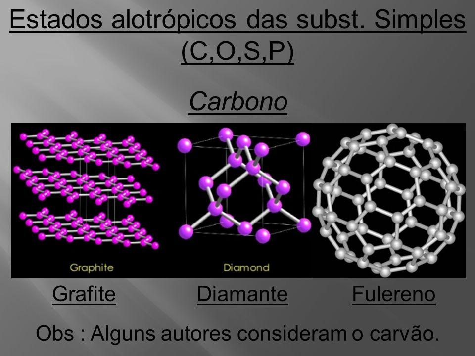 Estados alotrópicos das subst. Simples (C,O,S,P) Carbono