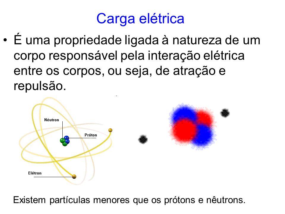 Carga elétrica É uma propriedade ligada à natureza de um corpo responsável pela interação elétrica entre os corpos, ou seja, de atração e repulsão.