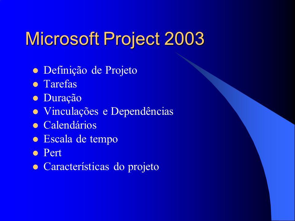 Microsoft Project 2003 Definição de Projeto Tarefas Duração