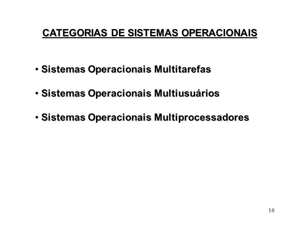 CATEGORIAS DE SISTEMAS OPERACIONAIS