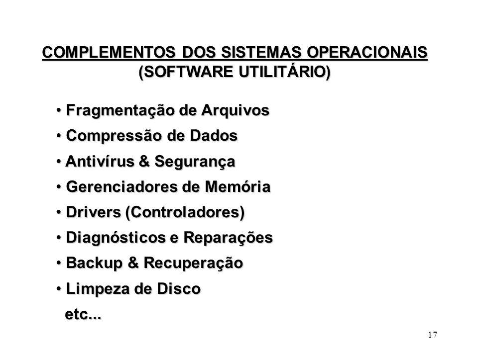 COMPLEMENTOS DOS SISTEMAS OPERACIONAIS (SOFTWARE UTILITÁRIO)