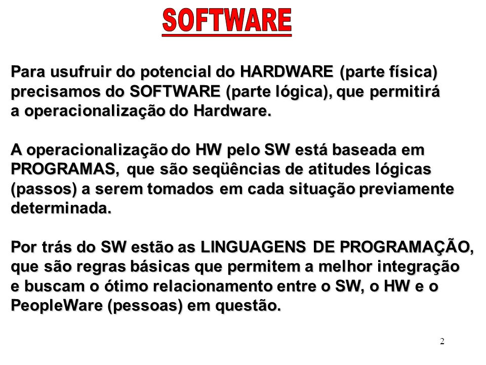Para usufruir do potencial do HARDWARE (parte física)