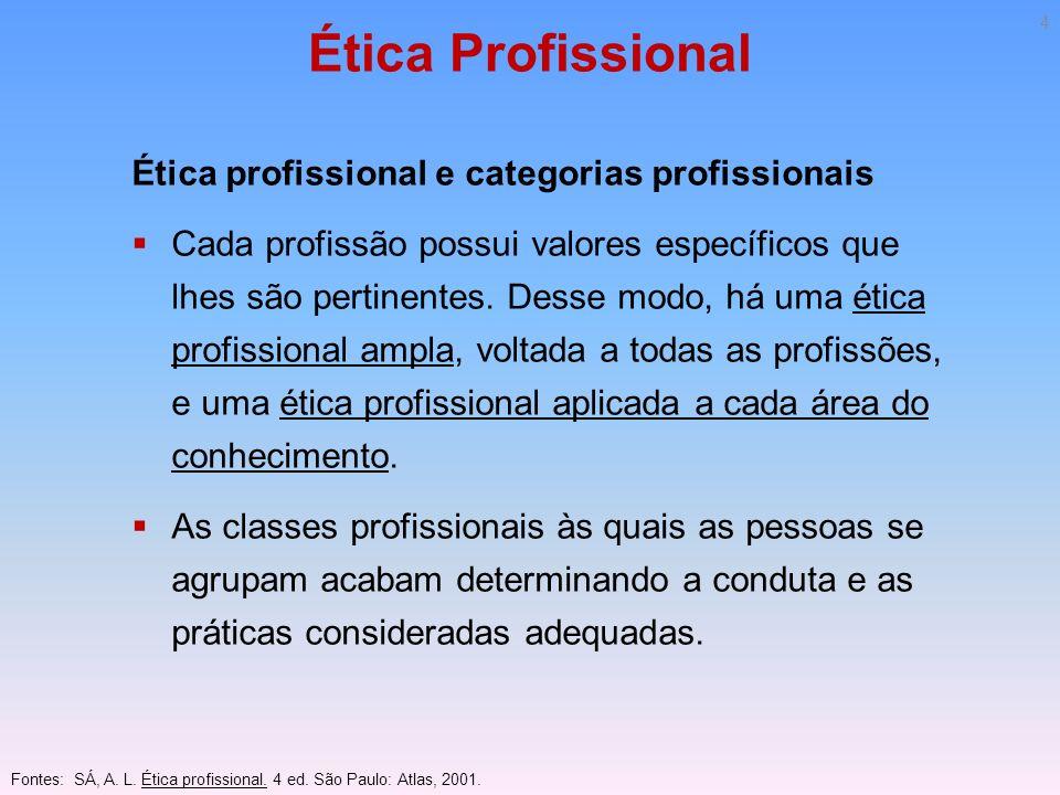 Ética Profissional Ética profissional e categorias profissionais