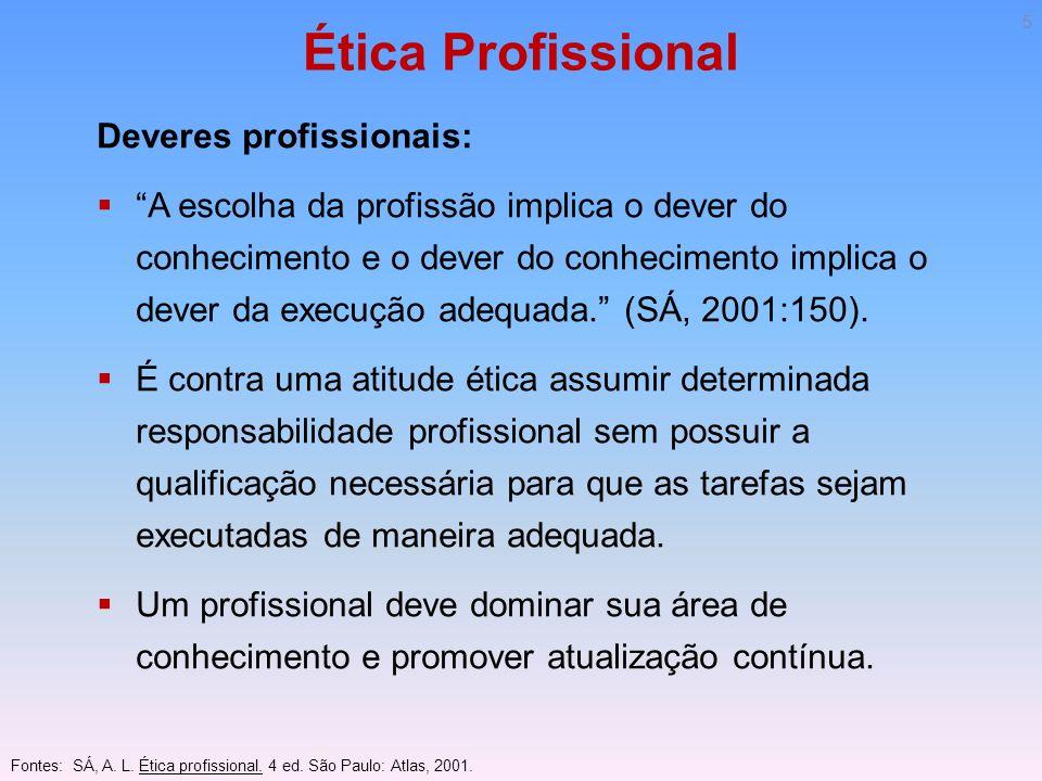 Ética Profissional Deveres profissionais: