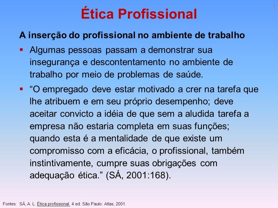 Ética Profissional A inserção do profissional no ambiente de trabalho