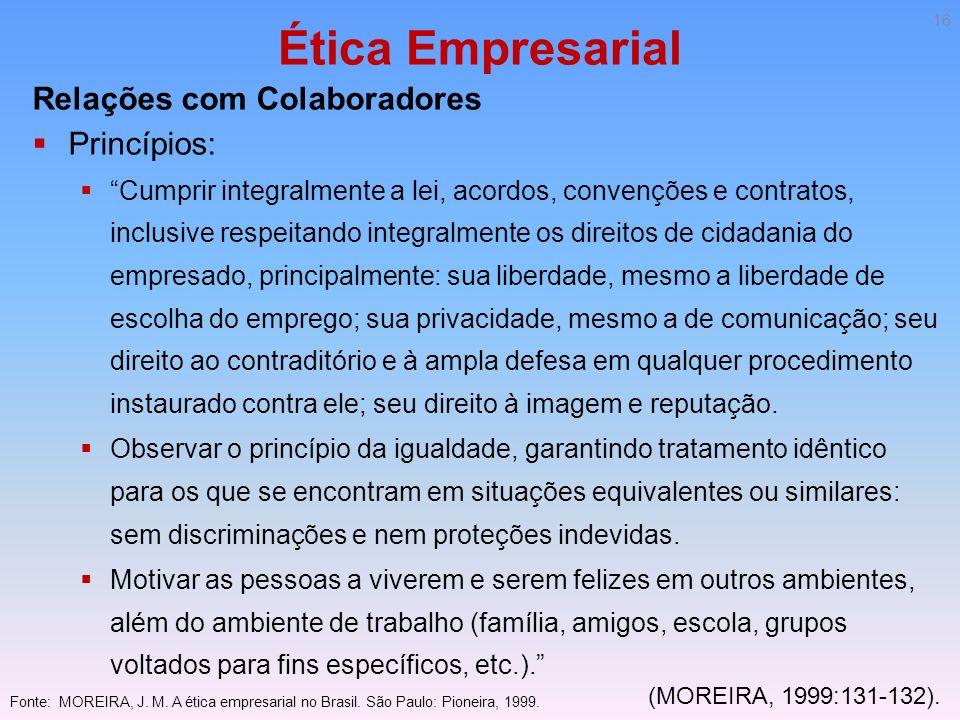 Ética Empresarial Relações com Colaboradores Princípios: