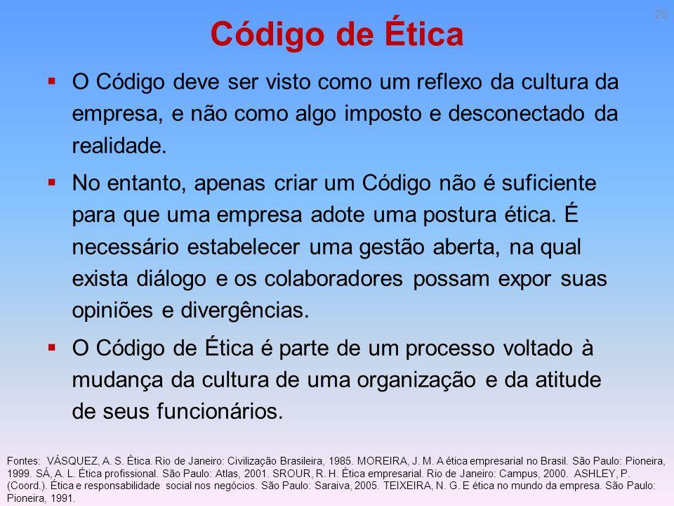 Código de Ética O Código deve ser visto como um reflexo da cultura da empresa, e não como algo imposto e desconectado da realidade.