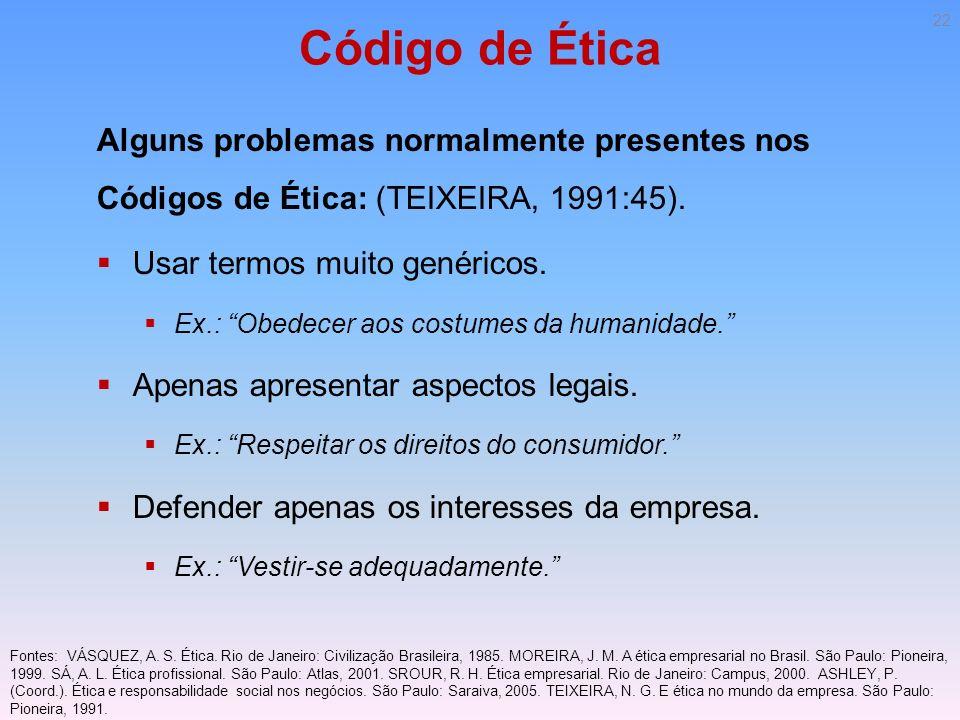 Código de Ética Alguns problemas normalmente presentes nos Códigos de Ética: (TEIXEIRA, 1991:45). Usar termos muito genéricos.