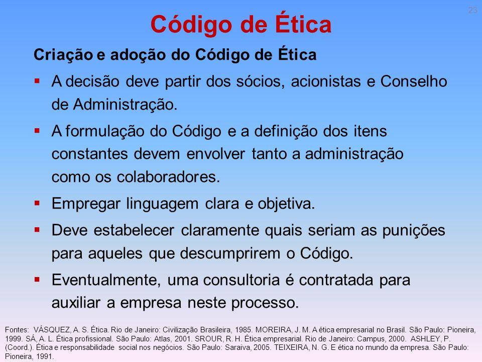 Código de Ética Criação e adoção do Código de Ética