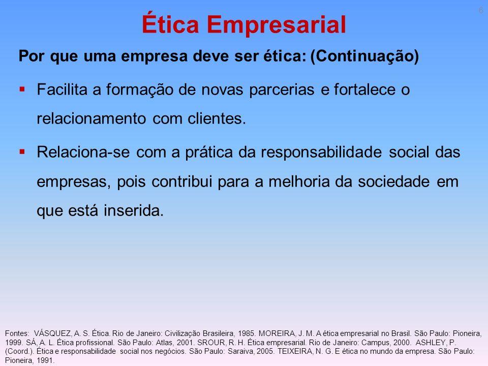Ética Empresarial Por que uma empresa deve ser ética: (Continuação)