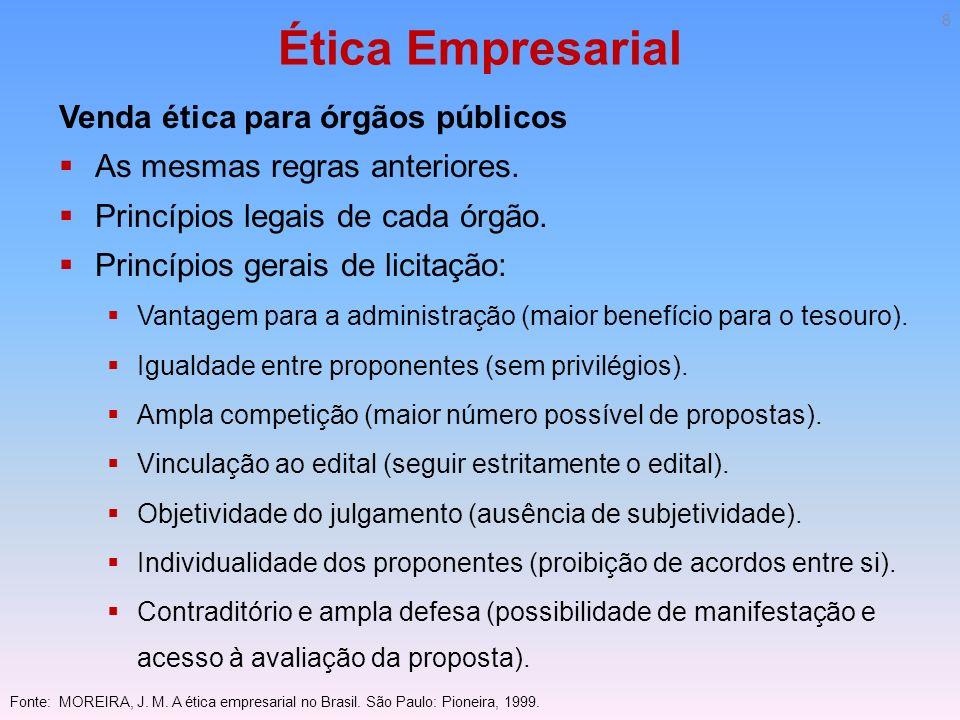 Ética Empresarial Venda ética para órgãos públicos