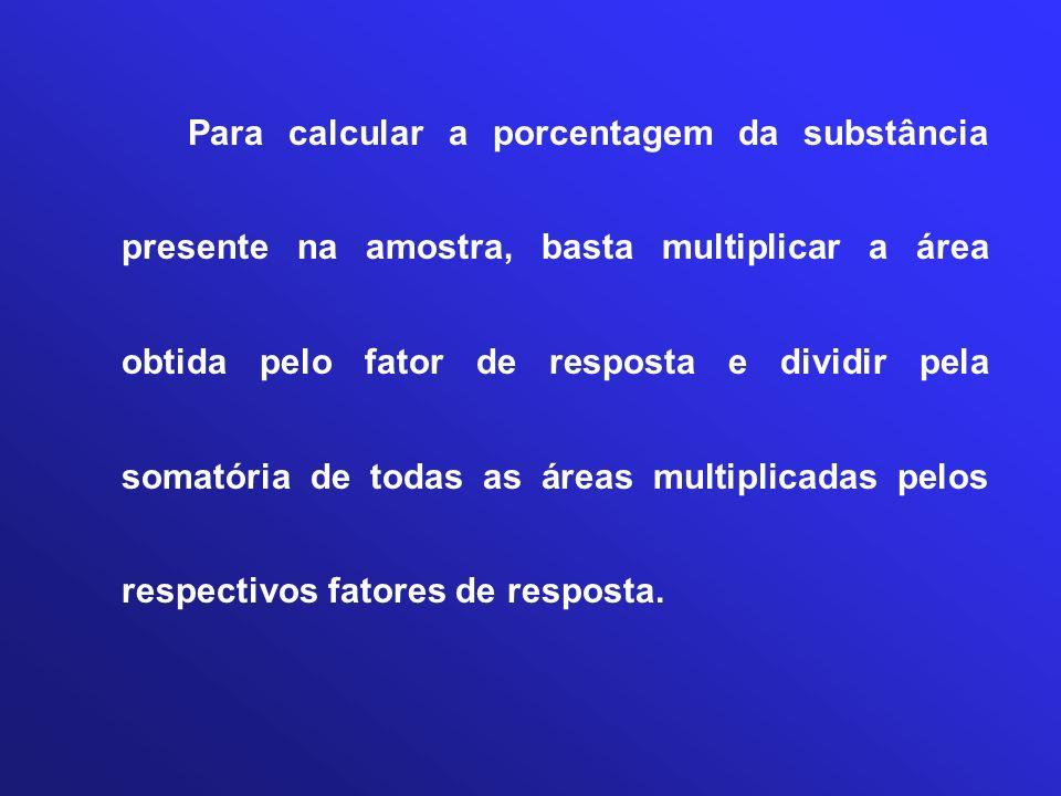 Para calcular a porcentagem da substância presente na amostra, basta multiplicar a área obtida pelo fator de resposta e dividir pela somatória de todas as áreas multiplicadas pelos respectivos fatores de resposta.