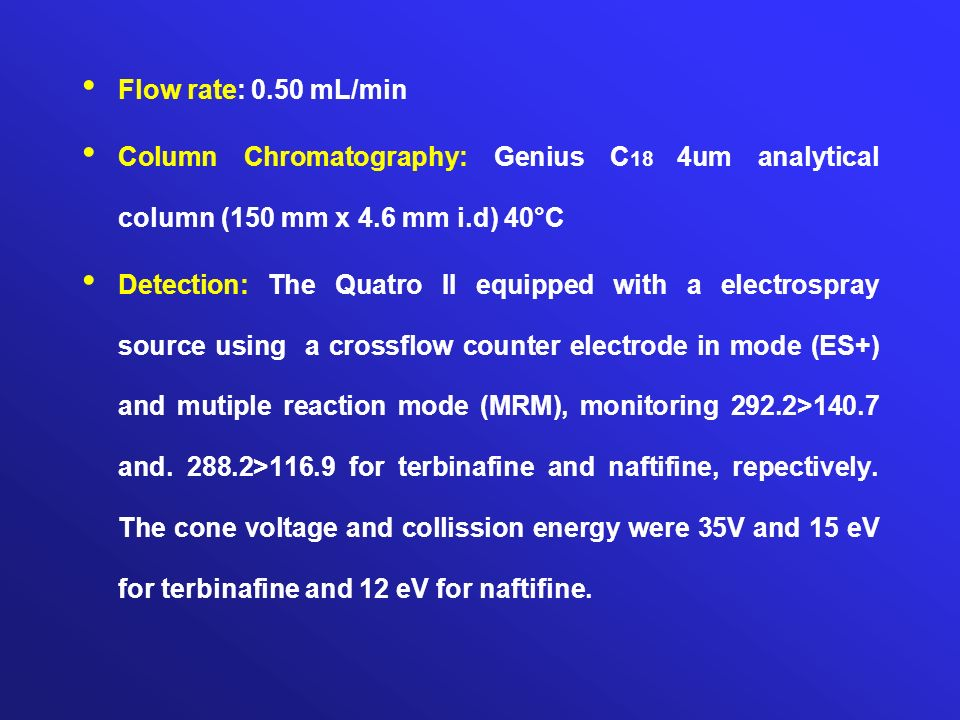 Flow rate: 0.50 mL/min Column Chromatography: Genius C18 4um analytical column (150 mm x 4.6 mm i.d) 40°C.