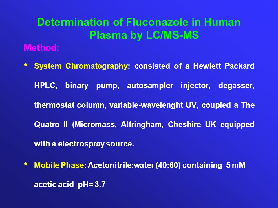 Determination of Fluconazole in Human Plasma by LC/MS-MS