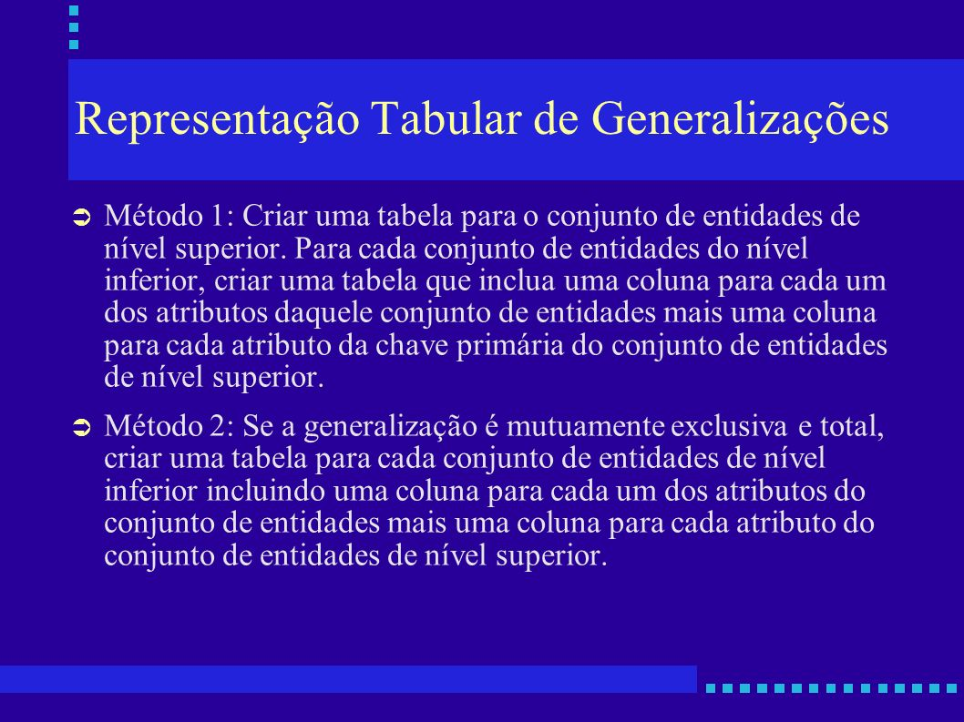 Representação Tabular de Generalizações