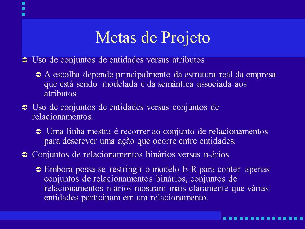 Metas de Projeto Uso de conjuntos de entidades versus atributos